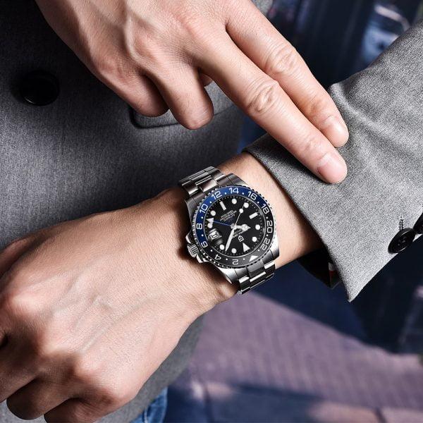 خرید اسعت پاگانی از علی اکسپرس PAGANI DESIGN 2020 Luxury Men Mechanical Wristwatch Stainless Steel GMT Watch Top Brand Sapphire Glass Men Watches reloj hombre