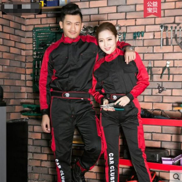 S-4XL!!Spring and autumn long sleeve work clothes set men and women auto beauty repair shop auto repair work clothes.