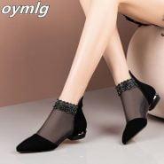 خرید صندل تابستانی از علی اکسپرس 2020 new summer sandals Pointed High heels Women shoes Black Lace Ankle Flower low Heel zipper flowers casual sandals