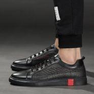 خرید کفش از علی اکسپرس Spring Autumn Fashion Designer Black Men Genuine Leather Sneakers Casual Mens Shoes Hot Sale High Quality