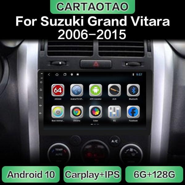 خرید مانیتور اندروید سوزوکی ویتارا Android 10 car radio GPS navigation WiFi CarPlay multimedia player for Suzuki Grand Vitara 3 2006-2015 DSP RDS IPS NO DVD 2din
