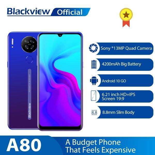 خرید گوشی بلک ویو از علی اکسپرس Blackview A80 Android 10.0 Go Quad Rear 13MP Camera Mobile Phone 6.21 Waterdrop Screen 2GB 16GB
