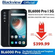 خرید گوشی بلک ویو از علی اکسپرس Blackview BL6000 Pro 5G Smartphone IP68 Waterproof 48MP Triple Camera 8GB RAM 256GB ROM 6.36 Inch