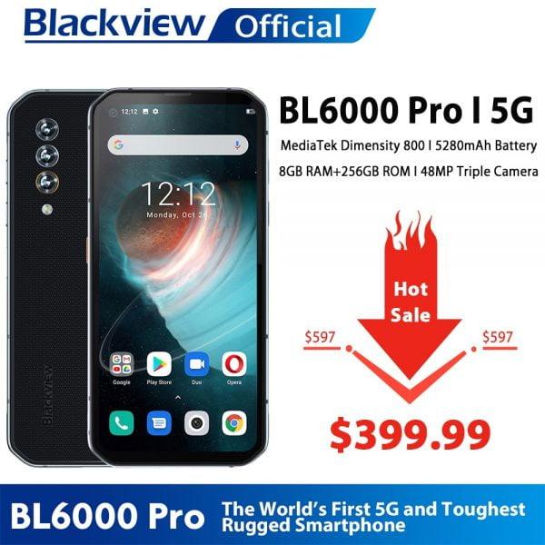 خرید گوشی بلک ویو از علی اکسپرس Blackview BL6000 Pro 5G Smartphone IP68 Waterproof 48MP Triple Camera 8GB RAM 256GB ROM 6.36 Inch