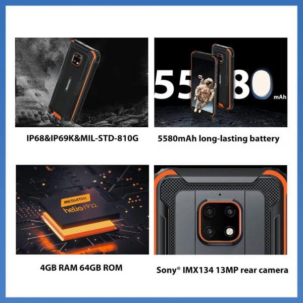 خرید گوشی بلک ویو از علی اکسپرس Blackview BV4900 Pro IP68 Rugged Phone 4GB 64GB Octa Core Android 10 Waterproof Mobile Phone 5580mAh