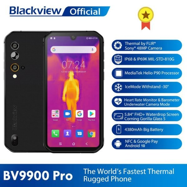 خرید گوشی بلک ویو از علی اکسپرس Blackview BV9900 Pro Thermal Camera Smartphone IP68 Waterproof 8GB 128GB Helio P90 Rugged Phone