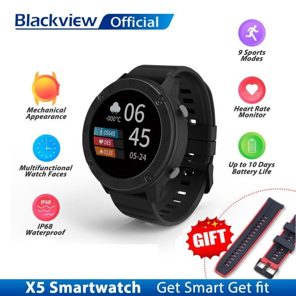 خرید ساعت هوشمند بلک ویو Blackview IP68 SmartWatch X5 Men Women Sports Watch Clock Sleep Monitor Fitness Tracker Heart Rate