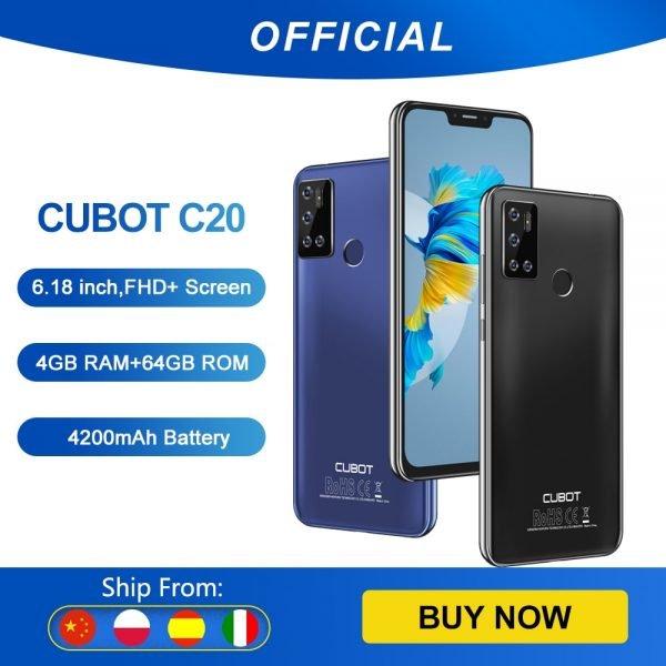 خرید گوشی موبایل کوبات Cubot C20 Smartphone NFC 12MP Quad AI Camera 4GB 64GB Mobile Phones 4G LTE Celular 6.18 Inch FHD