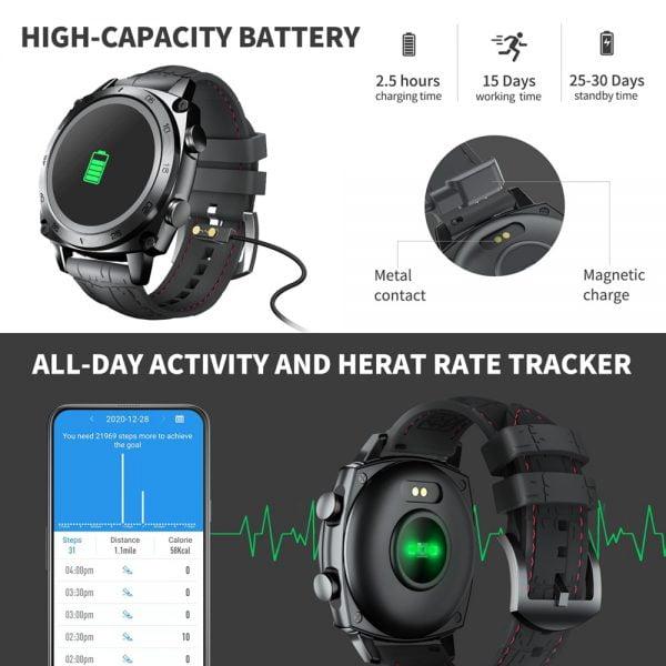 خرید ساعت هوشمند کوبات Cubot C3 Smartwatch 2020 1.3 inch Waterproof 5ATM Heart Rate Monitor Sport Touch Fitness