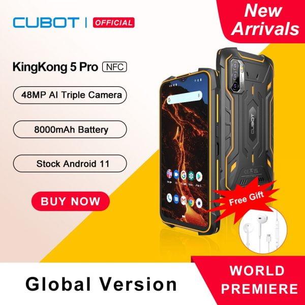خرید گوشی کوبات Cubot KingKong 5 Pro IP68/IP69K Waterproof Smartphone Rugged Phone 8000mAh 48MP Triple Camera Android 11