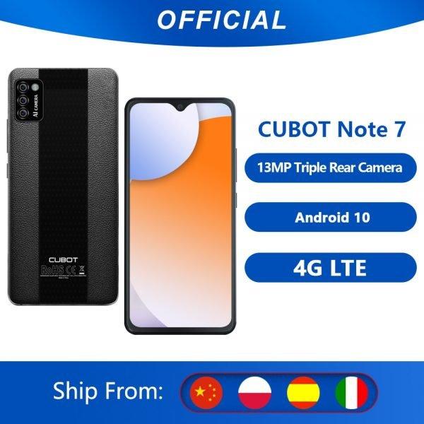 خرید گوشی کوبات از علی اکسپرس Cubot Note 7 Mobile Phone Android 10 Triple Camera 13MP 4G LTE Dual SIM Card Celular 5.5″