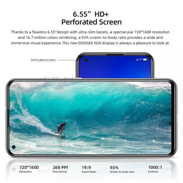 خرید گوشی دوجی ان 30 از  علی اکسپرس DOOGEE N30 Full Netcom 6.55″inch Quad Camera 128GB ROM Octa Core
