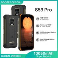 خرید گوشی دوجی اس 59 از علی اکسپرس DOOGEE S59 Pro smartphone 10050mAh Super Battery IP68/IP69K 4 128GB NFC Rugged Smart phone 2W