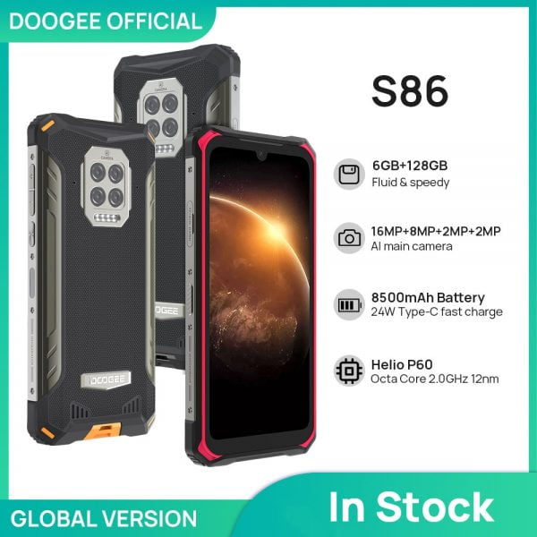 خرید گوشی دوجی اس 86 از علی اکسپرس DOOGEE S86 Rugged Smart Phone 6GB 128GB 8500mAh Super Battery Smartphone IP68/IP69K