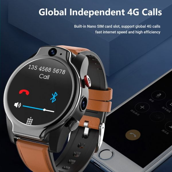 خرید ساعت هوشمند LEMFO LEM14 Smart Watch 4G 5ATM Waterproof Android 10 Helio P22 Chip 4G 64GB LTE 4G SIM 1100mAh Face ID 2021 Dual Camera for Men