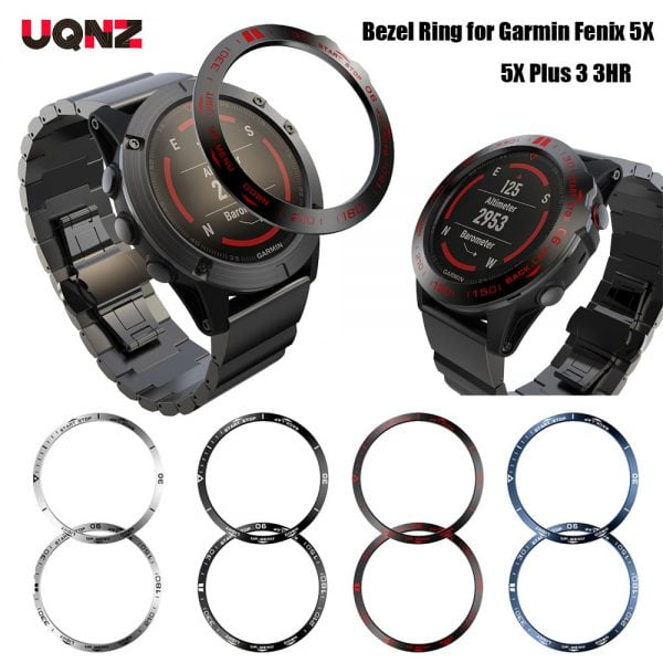 Metal Bezel Ring for Garmin Fenix 5X Plus Stainless Steel Adhesive Protector Cover Ring for Garmin Fenix 3 3HR Smart Watch