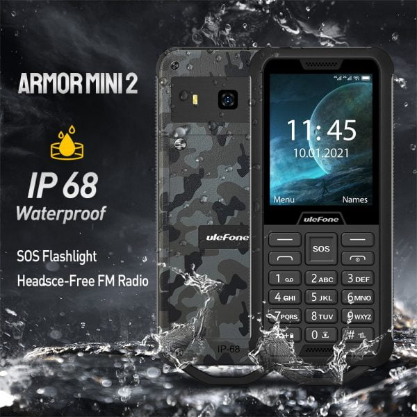 خرید گوشی یولفون Ulefone Armor Mini 2 Mobile Phone Outdoor Adventures Phone 2.4″ Smartphone MTK6261D Wireless FM Radio