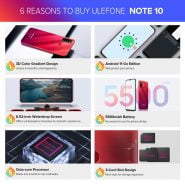 خرید گوشی یولفون Ulefone Note 10(2021 NEW)Android 11 Smartphone 6.52″ 2 32GB Octa Core 4G Cellphone 5500mAh
