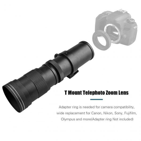 خرید لنز دوربین Camera Lens MF Super Telephoto Zoom Lens F/8.3-16 420-800mm T Mount with for Canon Nikon Sony Fujifilm Olympus