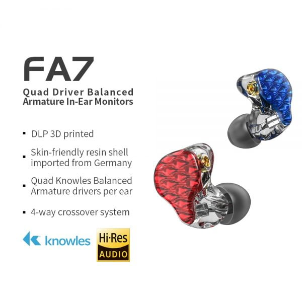هندزفری FiiO FA7 3D Printed Detachable Cable MMCX Design Quad Driver Balanced Armature HIFI In-Earphone/Headphone for iOS and Android