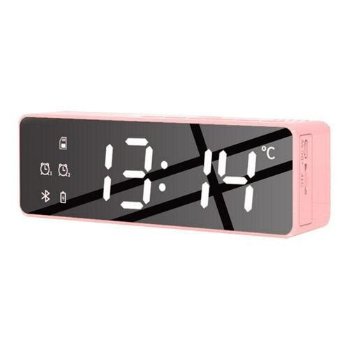 LED Digital Display Mirror Alarm Clock USB Charging Intelligent Induction Wake Up Lamp Night Light Bluetooth Speaker Alarm Clock