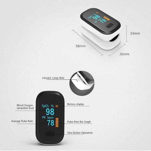 BOXYM Medical Portable Finger Pulse Oximeter blood oxygen Heart Rate Saturation Meter OLED Oximetro de dedo Saturometro Monitor