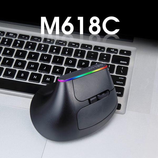 خرید موس از علی اکسپرس Delux M618C Wireless Mouse Ergonomic Vertical 6 Buttons Gaming Mouse RGB 1600 DPI Optical Mice With