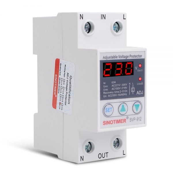 House 40A 63A 80A Adjustable Protection Over and Under Value Automatic High and Low Voltage Protect Relay