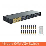 16 Port KVM Switch 16 In 1 Out VGA USB Audio Box Projector Video Display Remote Control Sharer With Original Cable