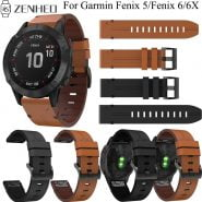 خرید بند ساعت گارمین 22mm 26mm Leather Strap For Garmin Fenix 6/6X Replacement Quick Release Watchband for Garmin Fenix 5/5 Plus/5X
