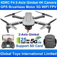 2KM odległość sterowania 4DRC F4 2-osiowy Gimbal profesjonalny aparat 4K bezszczotkowy silnik GPS 5G WIFI FPV zdalnie sterowany dron Quadcopter SG906 Pro