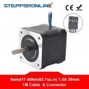 4-lead Nema17 Stepping Motor 42 Motor 1.5A 39mm 45Ncm 1m Cable Nema 17 Step Motor for 3D Printer/CNC XYZ
