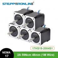 5PCS Nema 17 Stepper Motor 4-lead 48mm 59Ncm(84oz.in) 2A 1m Cable (17HS4801) Nema17 Step Motor for DIY 3D Printer CNC Robot XYZ
