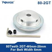 POWGE 80 Teeth 2M 2GT synchronous Pulley Bore 5/6/6.35/ 8/10/12mm for width 6mm 2MGT Timing Belt GT2 pulley Belt 80Teeth 80T