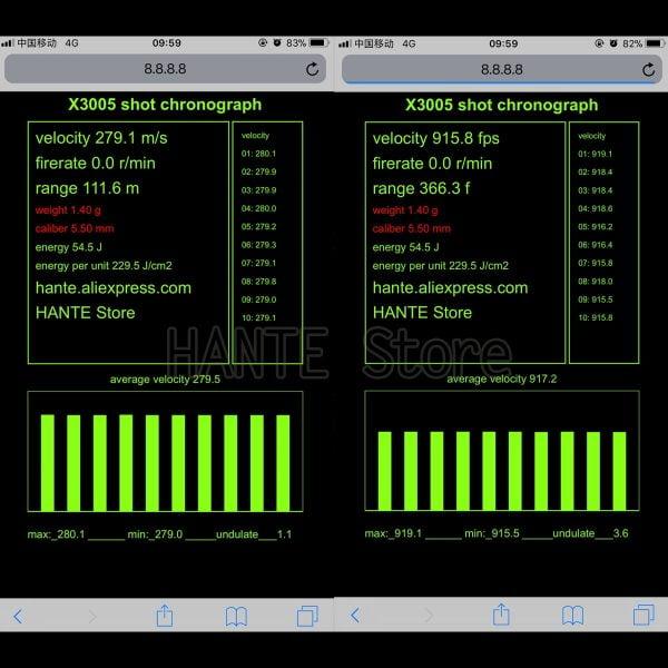 Shooting Chronograph Wifi Shooting Speed Meter Ball Velocity Energy Measurement Bullet Speed Tester
