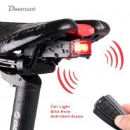 Bicycle Rear Light Anti-theft Alarm USB Charge Wireless Remote Control LED Tail Lamp Bike Finder Lantern Horn Siren Warning A6