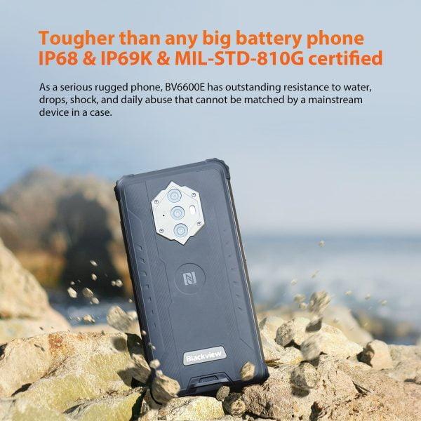 خرید گوشی بلک ویو از علی اکسپرس Blackview BV6600E IP68 Waterproof Smartphone 8580mAh Rugged Phone Octa Core 4GB 32GB 5.7″ Mobile Phone