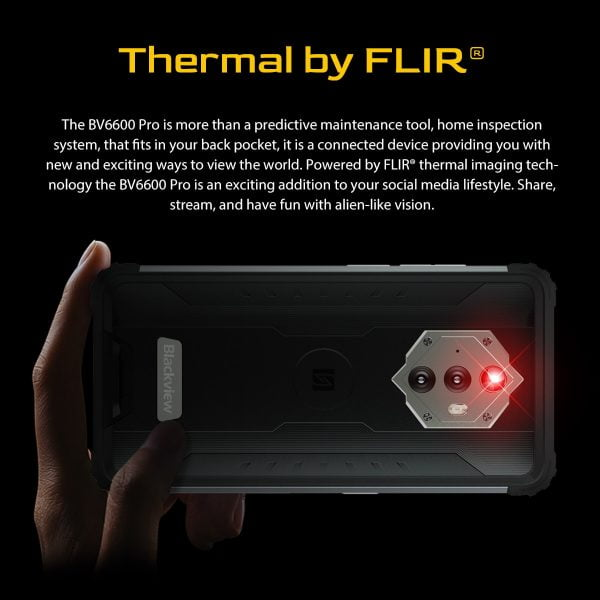 خرید گوشی بلک ویو [In Stock] Blackview BV6600 Pro Rugged Mobile Phone Thermal Imaging Camera FLIR® Android 11 4GB 64GB 8580mAh Global Smartphone