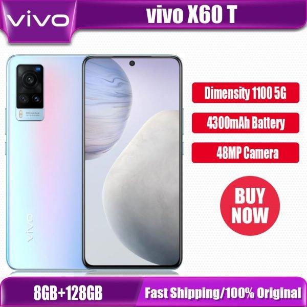"""خرید گوشی موبایل ویوو از چین Original New Official VIVO X60t 5G Cell Phone Dimensity 1100 Octa Core 6.56"""" AMOLED 120Hz 48MP Camera NFC 33W 4300Mah"""