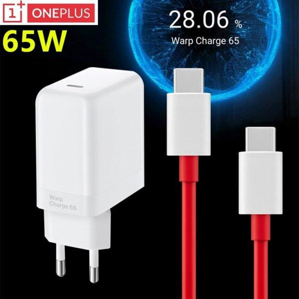 شارژر سریع وان پلاس oneplus charger 65 Original Fast Warp charger 65W EU Adapter Type C to type c cable For OnePlus 9 Pro 9R 8T 8 Pro 7T Pro Nord 10